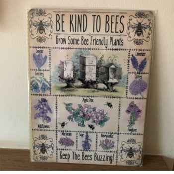 Be Kind To Bees Metal Wall Sign