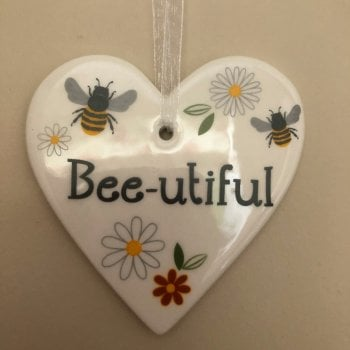 Ceramic Hanging Bee Hearts