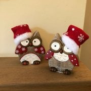 Ceramic Santa Owl Ornaments