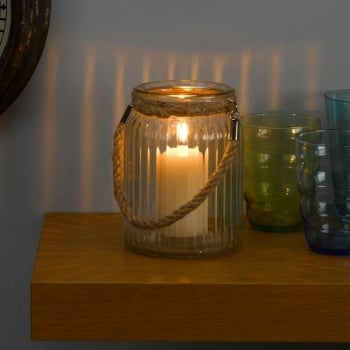 Fluted Clear Glass Jar Lantern