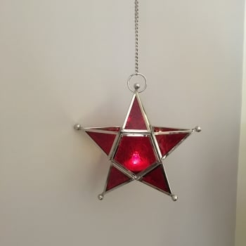 Glass Hanging Star Tea Light Holder