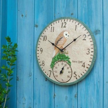 Hand Painted Barn Owl Clock & Thermometer