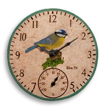 Hand Painted Blue Tit Clock & Thermometer