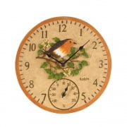Hand Painted Robin Clock & Thermometer