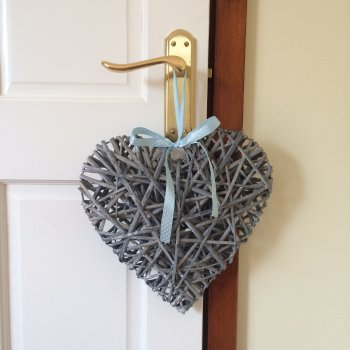 Hanging Heart with Blue Spot Ribbon