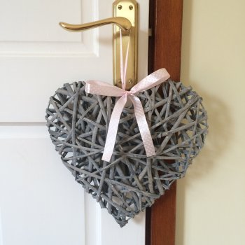 Hanging Heart with Pink Spot Ribbon