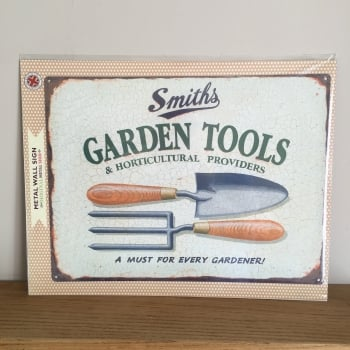 Large Garden Tools Metal Wall Sign