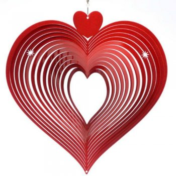 Large Red Heart Wind Spinner