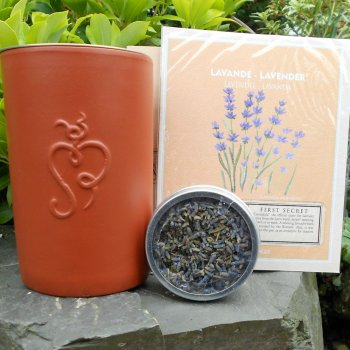 Lavender Incense Set with Terracotta Burner