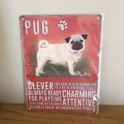 Pug Metal Wall Sign