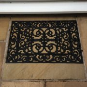 Rectangular Rubber Doormat with Swirl Design