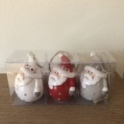 Set of 3 Ceramic Santa Baubles