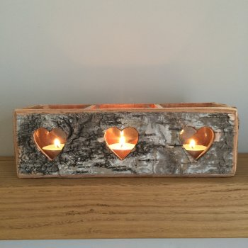 Silver Birch Rectangular T-Light Holder