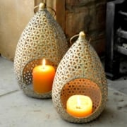 Small Gold Teardrop Candle Holder