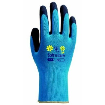 Soft n Care Flora Blue Gloves - Medium
