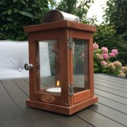 Stylish Hardwood Lantern with Hinged Door
