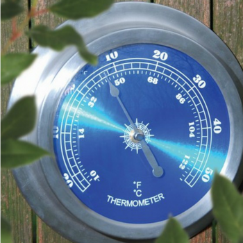 Stylish Round Wall Thermometer with Brushed Metal Surround