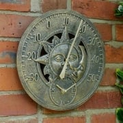 Sun & Moon Wall Thermometer/Clock