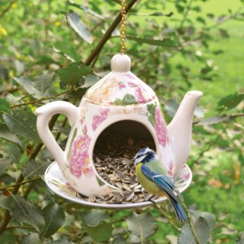 Vintage Style China Teapot Bird Feeder