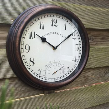 Wall Clock & Thermometer with Antique Effect Surround