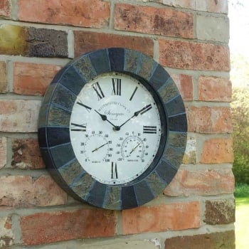 "Weather Resistant Stonegate 14"" Clock & Thermometer"