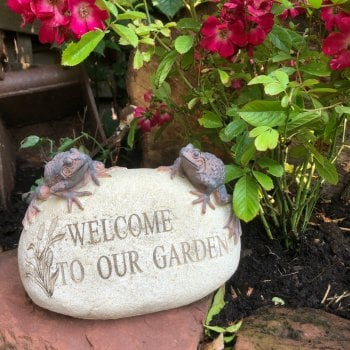 Welcome To Our Garden Frog Ornament