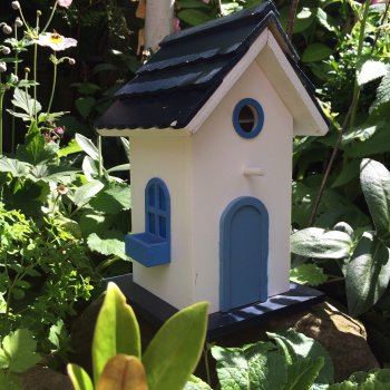 White Shaker Style Wooden Bird House