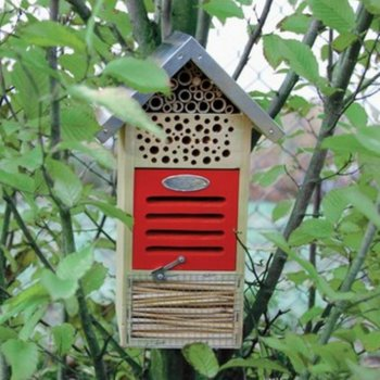 Wooden Insect Hotel with Metal Peaked Roof